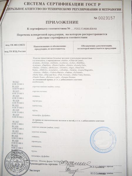 сертификат качества на нижнее бельё